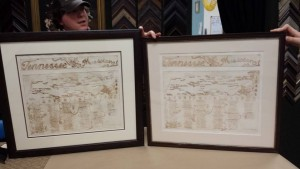 Early copies of the two plate Tennessee Musicians Map Framed