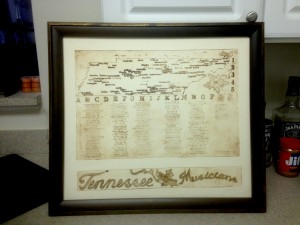 Tennessee Musicians Map #1. From the collection of David Shults. Print ID MR1201
