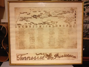 This is the first publicly exhibited print of the Tennessee Musicians Map. Print ID: MR1201